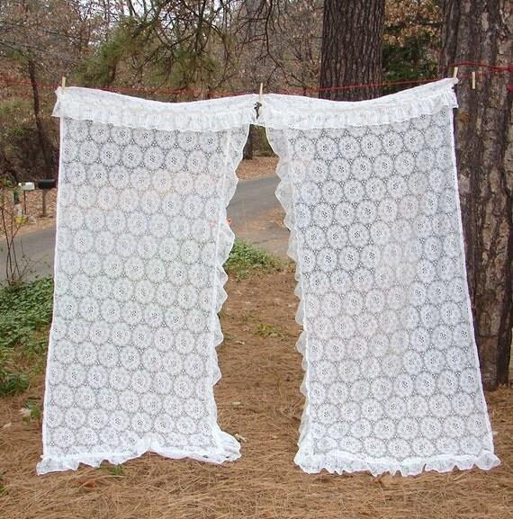 Vintage Ruffled Lace Curtains 2 sets Same Size White Lace Boho/Hippie ...