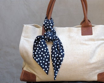 Polka Dot Scarf, Handbag Scarf, Twilly, Purse Scarf,Hair Scarf, Hair Wrap, Neck Bow, Black and White, Gift for Her, Teen Gift, Ready To Ship