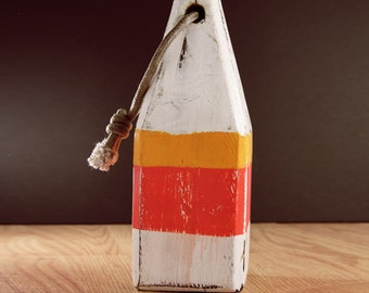 """Beach Decor 11"""" Vintage Style White and Orange Lobster Buoy Nautical Wooden by SEASTYLE"""