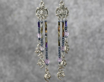 Amethyst linear long dangling earrings Bridesmaid gifts Free US Shipping handmade Anni designs
