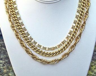 vintage Emmons variated 3 strand 12K gold plated necklace