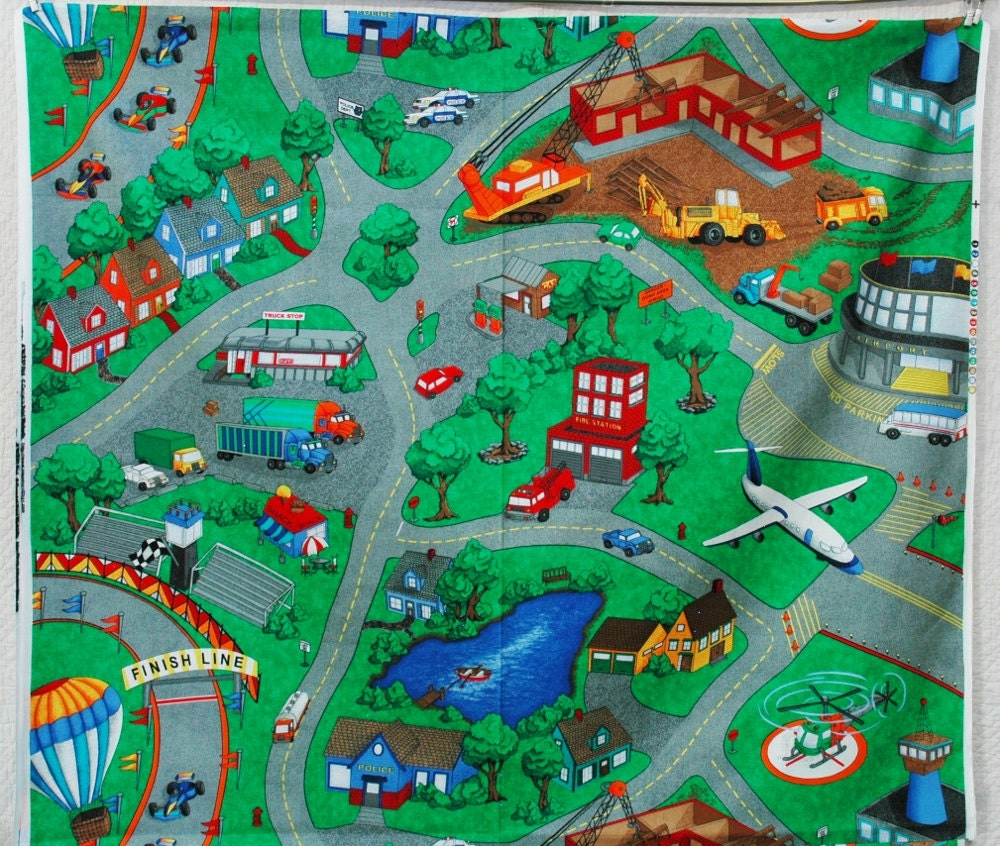 Only 2 Left Map Fabric Panel Toy Car Play Mat City Streets