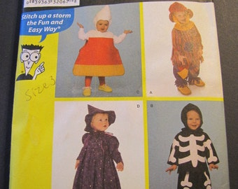Simplicity 2786, costume, corn, scarecrow, witch, skull, size 1/2 to 4