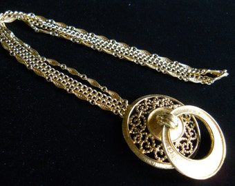 Monet Pendant Necklace Double Strand Chain, Door Knocker Style, Vintage Signed