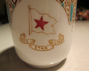Red Star Line... demitasse cup same Pattern that was later used in White Star's Titanic- first class china and Verandah Cafe