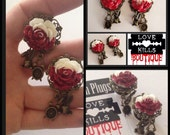 PICK SIZE Painting Roses Red Alice Glitter Roses Dangle girly plugs