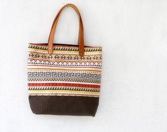 Tribal Tote Bag, Aztec print canvas bag, large tote bag, brown, orange and yellow, beach bag, canvas and leather bag