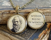 Socrates Necklace - Socrates Quote - DOUBLE-SIDED Brass Pendant W/ Chain - Philosophy