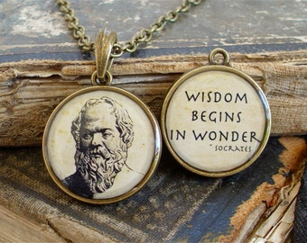 Socrates Necklace - DOUBLE-SIDED Socrates Quote Pendant in Bronze or Silver - Philosophy