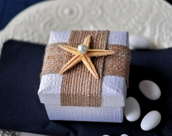 Starfish on a box -wedding favors - bridal shower favor- baby shower favor - Greek baptism bomboniere
