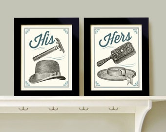 His And Hers Bathroom Decor Man Woman Bath Men S Razor Woman S Brush Powder Room Wall Art