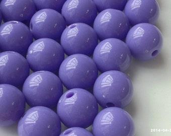 12 mm Opaque Wisteria Color Round Shape Candy Acrylic Beads. (.mgu)