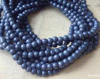 4 mm Slate Blue Turquoise Gem Stone Beads(gz sdu - .mthc)
