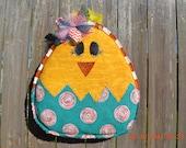 Ready to Ship - Easter CHICK Burlap Door Hanger