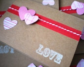 "Valentine Notecard Set of 6 Kraft Cards with Stamped ""LOVE"""