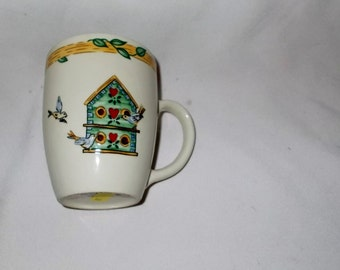 Birdhouse Mugs Thomson Pottery Birdhouse Coffee Mug TWO Vintage Stoneware Retro Kitchen Bird Topiary Bird House