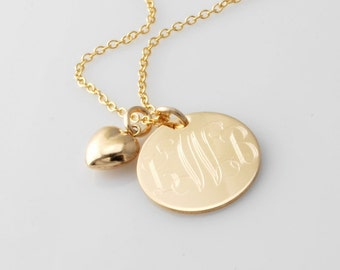MONOGRAMMED 14k Gold Filled initial pendant Necklace & puffed heart charm - Personalized gifts for her - Weddings Bridesmaids Flower Girls