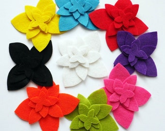 Felt Flower Shapes, set of 36 pieces,felt die cut, felt flower, Party Supply, DIY Wedding, Scrap supply