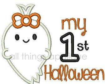 My 1st Halloween (Girl) Applique Design - 3 Sizes - INSTANT DOWNLOAD