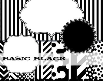 Black clip art frame clipart, black digital paper, black polka dot paper, white stripe digital paper frame stripe : p0176 & v001