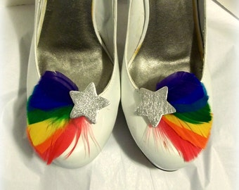 Rainbow Shoe Clips - Feathered Shoe Clips - Silver Stars, wedding shoe clips, womens, girls