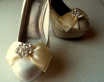 Wedding Shoe Clips -  Satin Bows - MANY COLORS AVAILABLE womens shoe clips wedding shoes clip Rhinestone Brooch