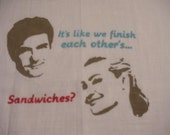 Michael and Lindsay and Sandwiches Flour Sack Dish Towel