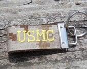 Custom USMC Embroidered Mini Key Fob, Mini Military Key Fob, Tan Marpat Print or Woodland Camo, custom personalized