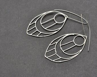metal feather long earrings, drowing of a feather dangle earrings, silver long earrings, silver drop earrings, 1st anniversary gift,