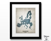 Europe Map Art - Home Is Where The Heart Is Love Map -Original Custom Map Art Print Available in Multiple Size and Color Options