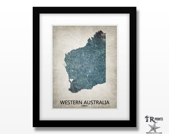 Western Australia Map Art Print - Home Is Where The Heart Is - Original Custom Map Art Print Available in Multiple Size and Color Options