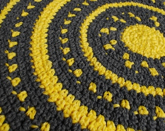 Gray and yellow handmade circle rug