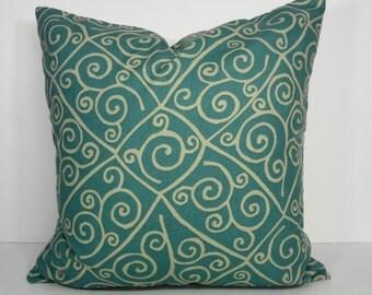 Aqua Blue Pillow Cover,  Blue Throw Decorative Pillow Cushion, 20 x 20