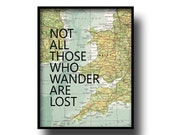 vintage map atlas book page quote typography art print poster not all those who wander are lost