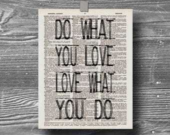 book page dictionary art print poster do what you love love what you do quote typography decor inspirational motivational travel love