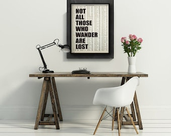 large not all those who wander are lost art print poster atlas book page quote typography vintage wall decor inspirational motivational