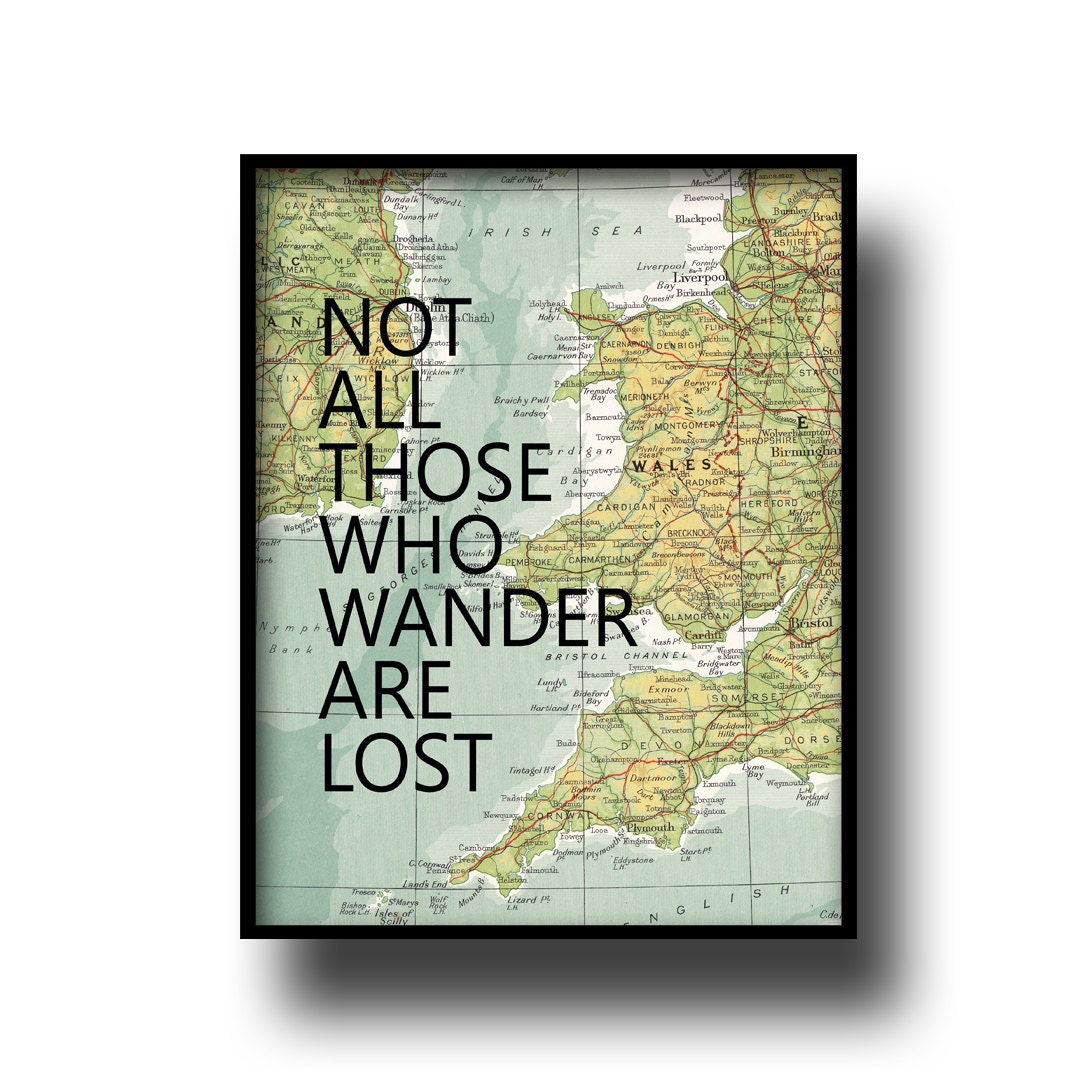 vintage map atlas book page quote typography art print poster