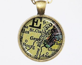Geneva Map Necklace - Switzerland, Swiss, Customizable Map Necklace -Vintage Map Series
