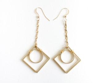 Gold, Geometric Art Deco Earrings - Classic, Mid Century Modern Everyday Design
