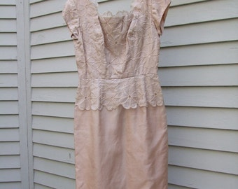 Vintage Taupe Mother of the Bride style dress ala 1950s