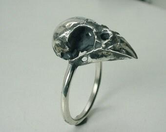 Sparrow Skull Ring, Sterling Silver