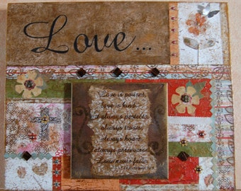 Love Canvas Collage Art Wall Hanging, Inspirational Wall Hanging, Christian Canvas, Collage Art