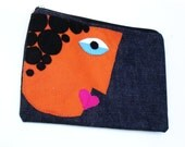 Embroidered Zipper pouch, clutch,daily makeup must-have, Pencil case, ooak, HANDMADE