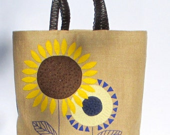 Summer jute tote bag, hand appliqued, embroidered with sunflowers jute tote bag, handmade, beach bag, shoppers bag