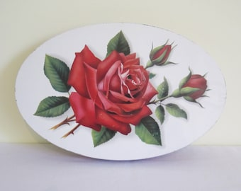VINTAGE 1960s storage tin - large oval, red roses