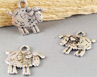 50pcs Antique Silver Cute Sheep Charm Pendants 15mm AB201-3
