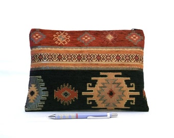Ethnic Tribal Style Handbag - Makeup Bag - iPad Cover - Large Pouch with Kilim Pattern - Boho clutch - Black, Red