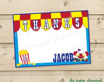 Carnival Thank you Cards, Printable Thank you Cards for Kids, Personalized Thank you Cards for Kids