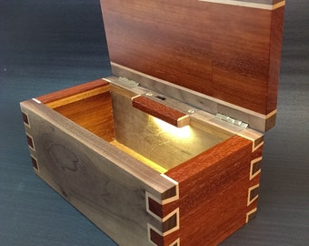Solid Padauk & Walnut Box Handcrafted Double Dovetail joints and LED light