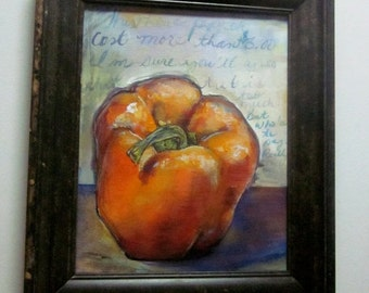 "Pretty Orange Pepper Kitchen painting Original painting with frame 8""x10"""